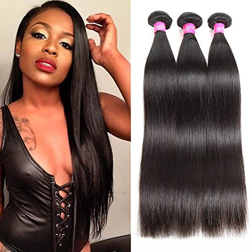 ISEE Hair 8A Brazilian Virgin Straight Hair 3 Bundles 100% Unprocessed Human Hair Weave Extensions Natural Color Can Be Dyed and Bleached 24inches (Best Way To Have Hair Extensions Put In)