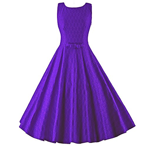 50s Dress Sleeveless Lace Hepburn Summer Bowknot Purple Audrey BFY Vintage Women's fwzBAxqXq