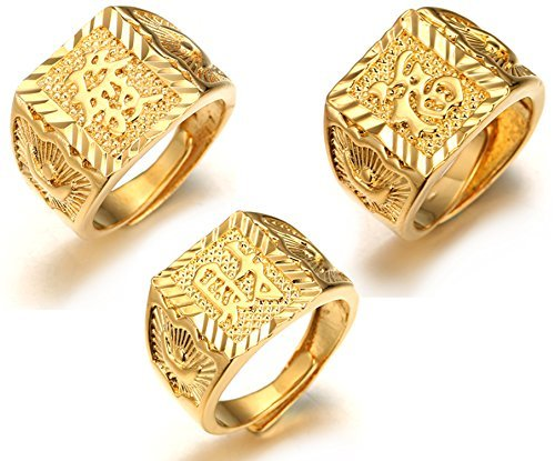 Halukakah ''GOLD BLESS ALL'' Men's 18K Gold Plated KANJI Ring ''RICH+LUCK+WEALTH'' Set Size Adjustable with FREE GIftbox