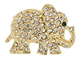 Lucky Elephant Brooch Pin 0.9'' with Crystal Accents (Gold Tone)