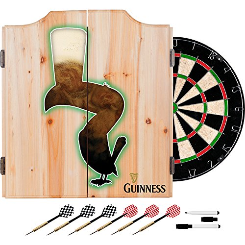 Officially Licensed Guinness Beer & Toucan Design Deluxe Wood Cabinet Complete Dart Set by TMG