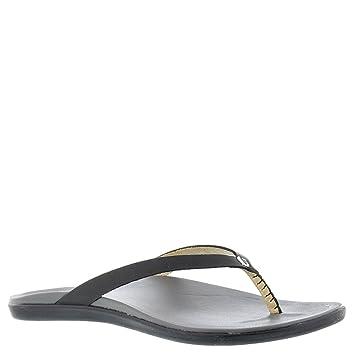 Olukai Hoopio Leather - Womens Sandal Black / Charcoal - 5