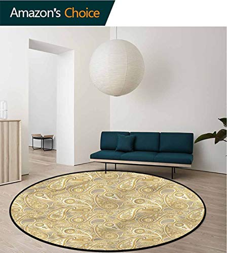 RUGSMAT Paisley Modern Vintage Rugs,Geometric Lines Arrangement Pattern Floor Seat Pad Home Decorative Indoor Round-39