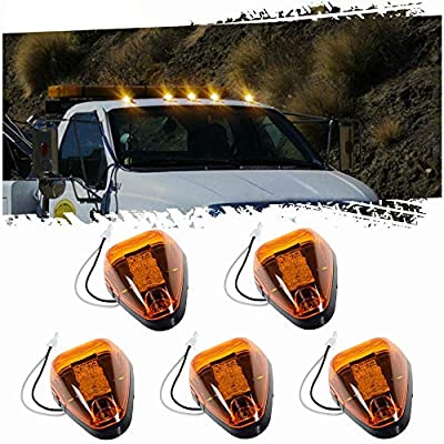 5pcs Amber Lens Amber LED Cab Roof Marker Lights, KOMAS Roof Top Lamp Running Light Replacement for Truck SUV Ford 1999-2016 E/F Super Duty (Amber Lens & Amber LED): Automotive