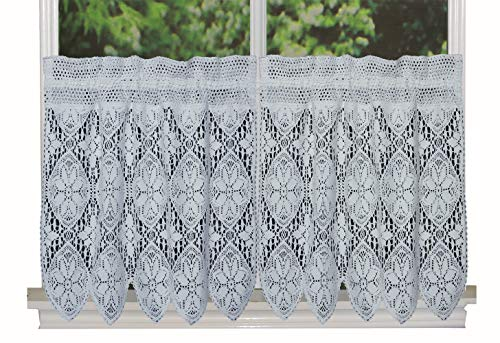 Creative Linens Knitted Crochet Lace Kitchen Curtain 24