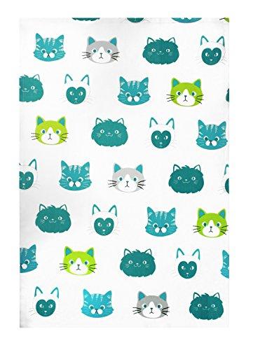 MUkitchen 100% Cotton Oversized Designer Kitchen Towel, Cats - 20 x 30 ()