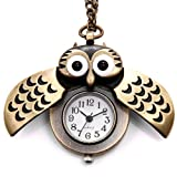 "JewelryWe Christmas Gift Vintage Retro Owl Bronze Steampunk Locket Pocket Watch Pendant Long Chain 31.5"" Sweater Necklace (with Gift Bag)"