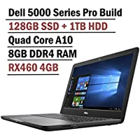 Dell 15.6 Inch Insprion 5000 Gaming Full HD Laptop ( AMD Quad Core A10 Processor, 8GB DDR4 RAM, 128GB SSD + 1TB HDD, AMD RX 460 4GB GDDR5 VRAM Dedicated, Backlit Keyboard, Windows 10)