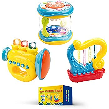 Musical Instruments for Babies. Set of 3 Trumpet, Drum, Harp Music Toys with Batteries Included. Portable size.
