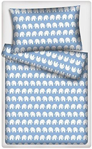 Kinderbettwäsche Garnitur Elefanten (blau)
