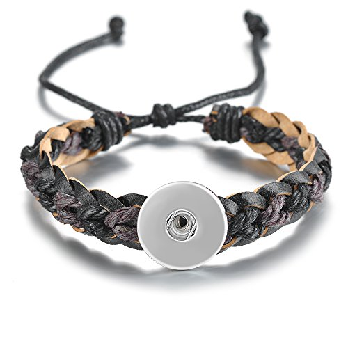 Wholesale 18mm Vocheng Snaps Bracelet 2 Colors Woven Genuine Leather Jewelry NN-51010 Pack of 10pcs (B) (Wholesale Leather Jewelry)
