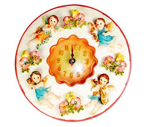 "Polystone Cherub (Cherub Clock, 8"" Round, 3D Polystone - Cherub Wall Decor For Kitchen, Nursery, Bedroom, Patio, Bathroom, Office Cherub Decoration - Best Cherub Gift Idea, Cherub Decoration, Home Decor.)"