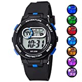 Kid Watch For Boy Girl LED Multi Function Fashion Sport Outdoor Digital Wristwatch Dress Waterproof Alarm Black Blue