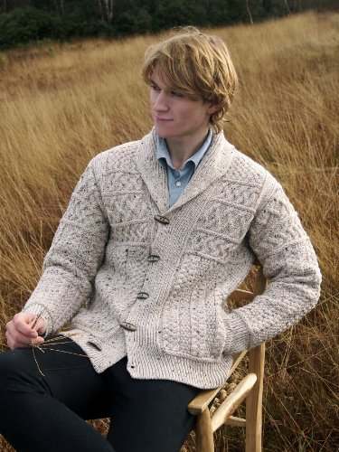 100 Irish Merino Wool Mens Aran Shawl Collar Sweater By
