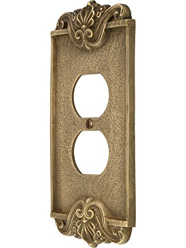 - Art Nouveau Single Duplex Cover Plate In Antique-By-Hand Finish