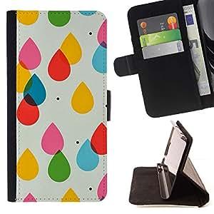 Momo Phone Case / Flip Funda de Cuero Case Cover - Gotas de agua para niños Colores en colores pastel del lunar - Samsung Galaxy E5 E500
