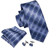 Blue Tie Set Plaid Tie Pocket Square Cufflinks Neckties for Men Business