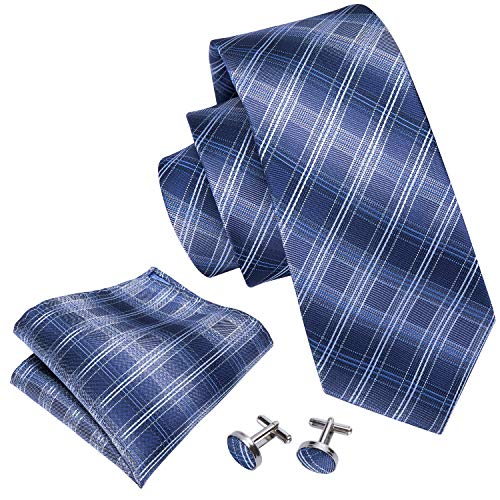 Blue Tie Set Plaid Tie Pocket Square Cufflinks Neckties for Men Business by Barry.Wang