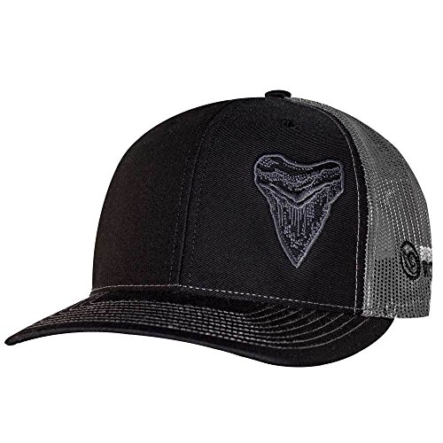 (Born of Water Megalodon MEG Tooth Trucker Hat: Scuba Dive | Freediving | Spearfishing - Black/Charcoal)