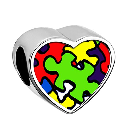 wareness Puzzle Piece Heart Photo Charm Beads For Bracelets ()