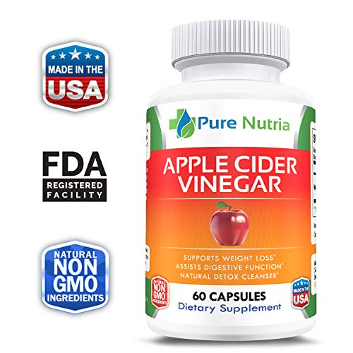 Apples Organic Support (Extra Strength Pure Apple Cider Vinegar Capsules - Supports Natural Weight Loss, Detox, Digestion - Powerful 1300mg Cleanser - Premium Non-GMO ACV Pills)