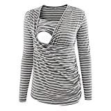 GoodLock Women's Fashion Maternity Nursing Tops Long Sleeve Stripe Ruched Side-Shirred Breastfeeding Shirts (Gray, Small)