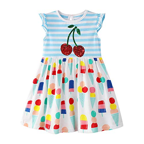 - Dresses for Toddler Girl Sleeveless Cotton Sundress Stripe Cherry Swing Skirt Floral Shirt Dress