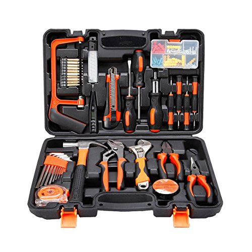 COLMAX 100PCS Home Improvement Tool Kit, Household repairing Mixed Tool Set, with Plastic Blow Molded Tool Box Storage Case,Daily Use - Molded Tool Case