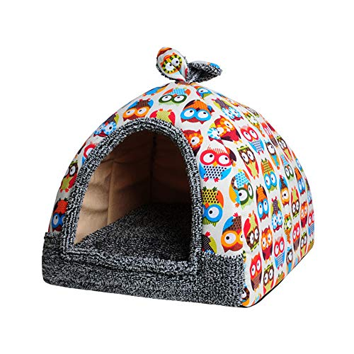 Spring Fever Rabbit Dog Cat Pet Bed Small Big Animal Snuggle Puppy Supplies Indoor Water Resistant Beds (M (14.214.2 inch), Beige Owl)