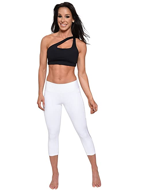 ee835e55ec3a96 Amazon.com: Affitnity White Leggings Capris Yoga Workout Fitness Tights  Womens: Clothing
