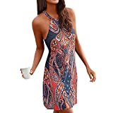 2018 New Boho Ethnic Print Halter Off Shoulder Sleeveless Summer Casual Beachwear Mini Dress Sundress (M, Navy)