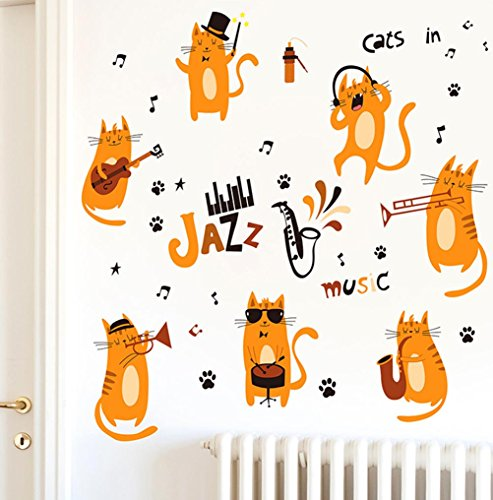 BIBITIME Saxophone Quotes Jazz Music Cat Wall Decal Music Note Band Animal Pussycats Paw Print Stickers for Nursery Bedroom Children Kids Room Decor DIY