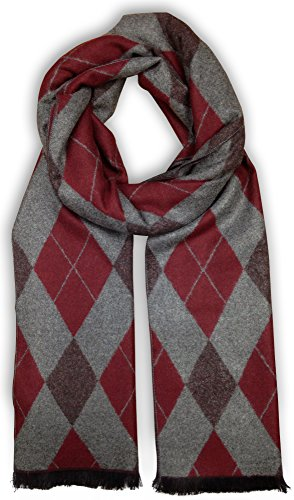 Bleu Nero Luxurious Winter Scarf for Men and Women – Large Selection of Unique Design Scarves – Super Soft Premium Cashmere Feel Burgandy/Grey Argyle (Mens Dress Scarf)