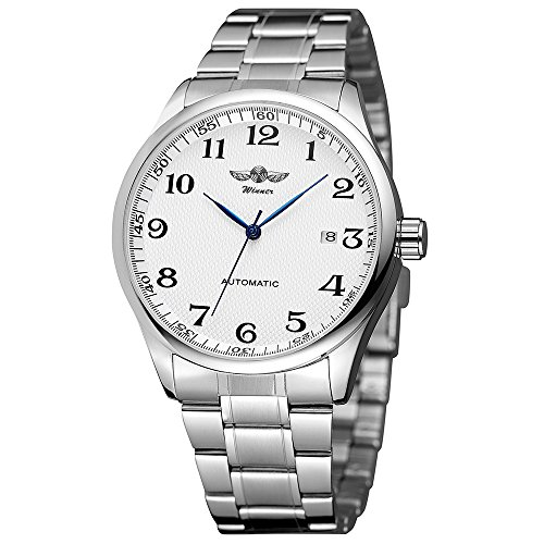 Mens Watch Stone Automatic Watch with Calender Display Easy Reader White Dial Analog ()