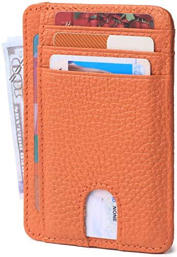 (Slim Minimalist Credit Card Holder Front Pocket RFID Blocking Leather Wallets for Men & Women (Limited Orange))