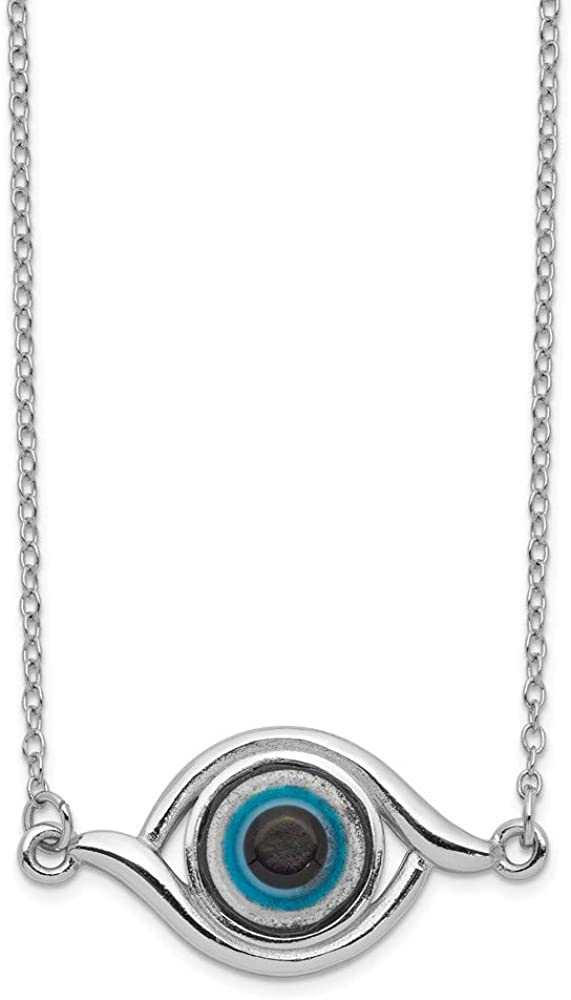 925 Sterling Silver Glass 2 Inch Extension Eye Chain Necklace Pendant Charm Fancy Fine Jewelry Gifts For Women For Her