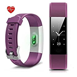 Fitness Tracker, Heart Rate Monitor Pedometer Waterproof Activity Tracker Smart Watch Smart WristBand with Sleep Monitor Calories/Step Counter Bluetooth 4.0 for Android IOS (Purple) Ship from US