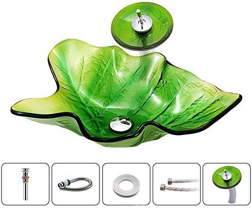 洗面ボウル 葉の形の強化ガラス容器シンク滝クローム蛇口コンボ、ポップアップシンクドレイン 浴室の台所の流し (Color : Green, Size : 59x38x15.5cm)