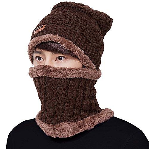 Men's Winter Beanie Hat Mens Warm Hats Scarf Set Skull Thick Knit Cap Women (Coffee)