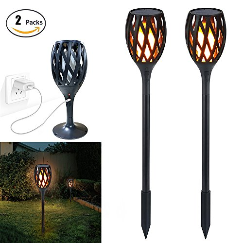 Solar Lights, Landscape Torch Lights Waterproof Flickering Flame Effect Light Torches Lights Outdoor Landscape Decoration Lighting Auto On/Off Security Torch Light , Indoor USB Recharge Wall Lamp 2PCS (Lighting Torch Wall)