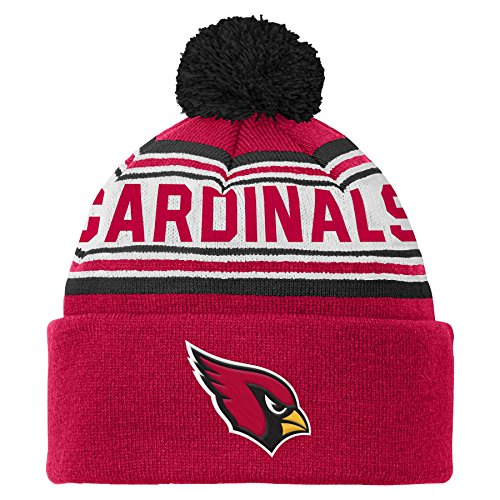 Cardinal Hat (OuterStuff NFL Youth 8-20 Cuffed Knit Pom Hat, Arizona Cardinals, One Size)