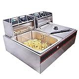 JUANSHI 5000W 12L Electric Countertop Deep Fryer Dual Tank Basket Commercial Restaurant
