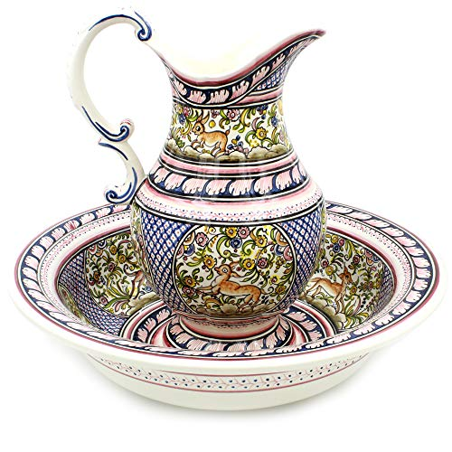 Madeira House Coimbra Ceramics Hand-Painted Wash Basin with Pitcher XVII Cent Recreation #109-1