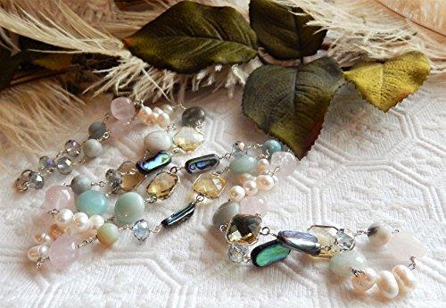 n Long Sterling Silver Multi Gemstone Pearl Crystal Necklace ()
