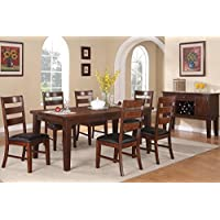 Poundex F2207 & F1283 Walnut Extendable Table & Leatherette Chairs Dining Set