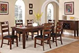 Poundex F2207 & F1283 Walnut Extendable Table & Leatherette Chairs Dining Set, Brown