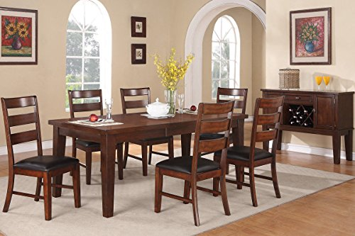 Poundex F2207 & F1283 Walnut Extendable Table & Leatherette Chairs Dining Set (Extendable Patio Table)