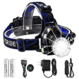 Headlamp,GRDE Rechargeable Led Headlamp Headlight Flashlight 3 Modes with Adjustable Thick Head Strap