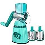Sondiko Rotary Drum Grater, Mandoline Vegetable Slicer Cheese Grater Slicer Nut Chopper with 3 Interchangeable Ultra Sharp Cylinders Stainless Steel Blades