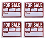 Pack of 4 for Sale Signs, Flexible Thin Plastic Sheet, Red and White, 16.5